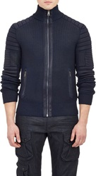Ralph Lauren Black Label Coated Moto Cardigan Blue Size S