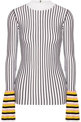Emilio Pucci Striped Ribbed Knit Sweater White