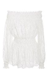 Christian Siriano Embroidered Tassel Off The Shoulder Blouse White