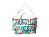 Kipling Jonah Foldable Tote Tropical Garden Print Tote Handbags Blue