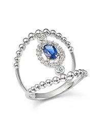 Bloomingdale's Diamond And Sapphire Double Band Ring In 14K White Gold White Blue