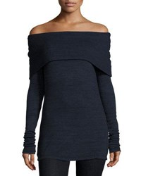 Three Dots Alexandra Off The Shoulder Long Sleeve Top Night Iris