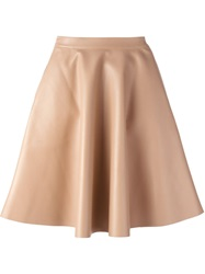 Msgm Faux Leather Full Skirt Nude And Neutrals