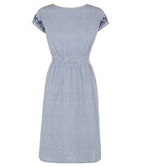 People Tree Sian Embroidered Dress Blue