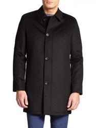 Saks Fifth Avenue Wool And Cashmere Coat Black Charcoal