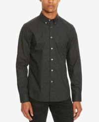 Kenneth Cole Reaction Men's Slim Fit Geometric Long Sleeve Shirt Black Combo