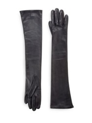 Saks Fifth Avenue Silk Lined Leather Opera Gloves Navy