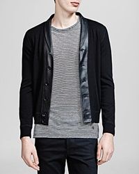 The Kooples Leather Collar Cardigan Black