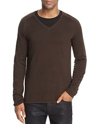 Hugo San Jose V Neck Plain Knit Sweater Dark Olive Green