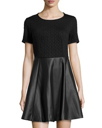 Romeo And Juliet Couture Short Sleeve Faux Leather Dress Black