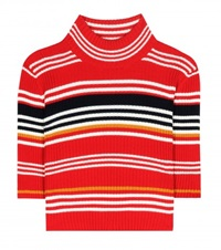 Alessandra Rich Striped Wool Cropped Turtleneck Sweater Red