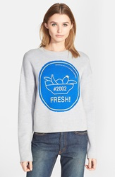 Opening Ceremony Intarsia Knit Crewneck Sweatshirt Heather Grey Mulit