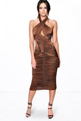 Boohoo Slinky Rouched Panel Detail Midi Dress Chocolate