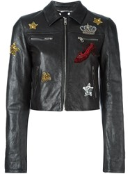 Dolce And Gabbana Embellished Cropped Leather Jacket Grey