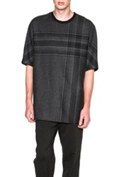 3.1 Phillip Lim Dolman Sleeve Tee In Gray Checkered And Plaid