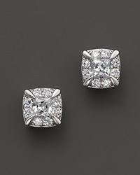 Bloomingdale's Diamond Princess Cut Stud Earrings In 14K White Gold .50 Ct. T.W. White Gold White Diamonds