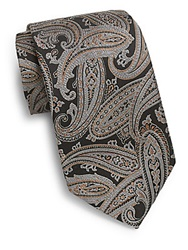 Saks Fifth Avenue Black Enlarged Paisley Silk Tie Black