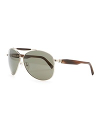 Horn And Metal Aviator Sunglasses Silver Brioni