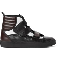 Raf Simons Colour Block Leather High Top Sneakers Brown