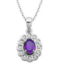 Lord And Taylor February Birthstone Sterling Silver Necklace Purple