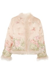 Alexander Mcqueen Feather Trimmed Embroidered Quilted Silk Jacket Blush