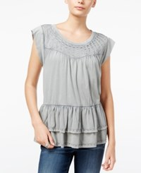 William Rast Raitt Embellished Ruffled Top Dawn Grey