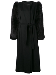 Yves Saint Laurent Vintage Contrast Sleeve Coat Black