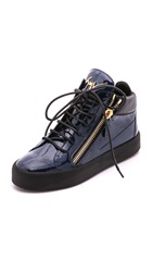 Giuseppe Zanotti Patent Leather Sneakers Navy