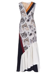 Stella Mccartney Asymmetric Cat Print Sleeveless Dress Multi