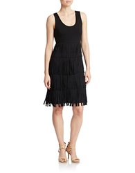 Spense Sleeveless Fringe Dress Black
