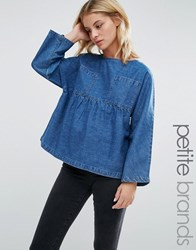 Waven Petite Annelie Oversized Peplum Top With Pockets Wash Blue