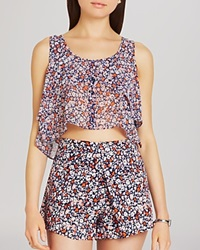 Bcbgeneration Top Flowing Button Front Crop Hot Coral Combo
