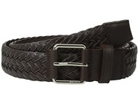 Tumi Leather Braided Belt Nickel Satin Brown Men's Belts Black