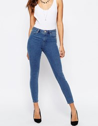 Asos Ridley High Waist Skinny Jeans In Pretty Mid Wash Midwash Blue
