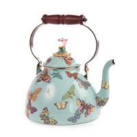 Mackenzie Childs Butterfly Garden Enamel Tea Kettle Sky L