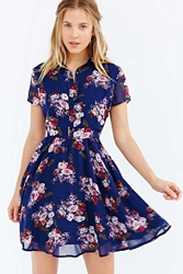 Lucca Couture Floral Shirt Dress Blue Multi