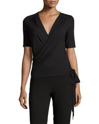 Three Dots Madeline Jersey Wrap Top Black
