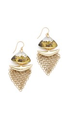 Alexis Bittar Dangling Mesh Wire Earrings Gold Grey