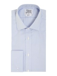 T.M.Lewin Men's Tm Lewin Gingham Non Iron Slim Fit Formal Shirt Blue