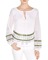 Tory Burch Madeline Sequin Hem Peasant Blouse White