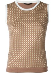 Agnona Knitted Sleeveless Top Brown