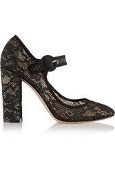 Gianvito Rossi Suede Trimmed Chantilly Lace Mary Jane Pumps Black