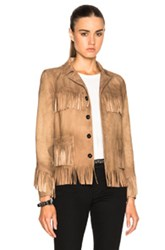Saint Laurent Curtis Suede Fringe Jacket In Brown