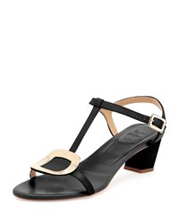 Roger Vivier Chips Leather T Strap Sandal Nero Size 36.0B 6.0B