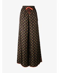 For Restless Sleepers Floral Print Silk Wide Leg Trousers Orange Multi Coloured