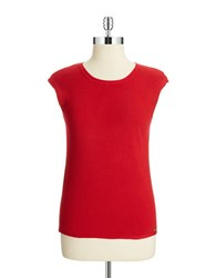 Calvin Klein Ribbed Shell Blouse Rouge