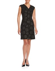 Lord And Taylor Rose Jacquard Dress Black