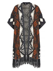 Mela Loves London Aztec Print Fringe Poncho Cardigan Multi Coloured