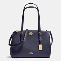 Coach Turnlock Carryall 29 In Crossgrain Leather Light Gold Navy