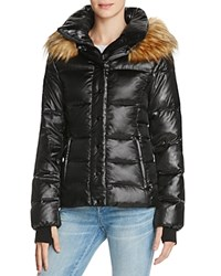 Aqua Kelly Short Puffer Jacket Jet Black